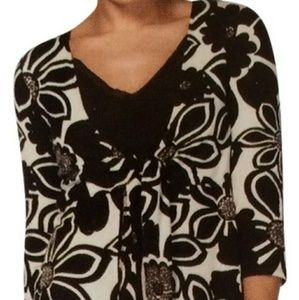 CAbi Open Tie-Front Style 902 Mod Floral Tunic